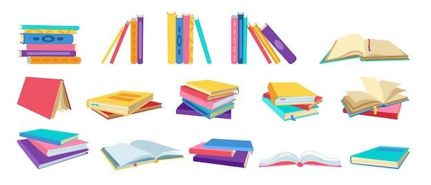 Conjunto de desenho do livro. mão-extraídas livros em branco, livros de capa dura, páginas vazias para biblioteca. ler, aprender e receber educação por meio do acervo de livros Vetor Premium