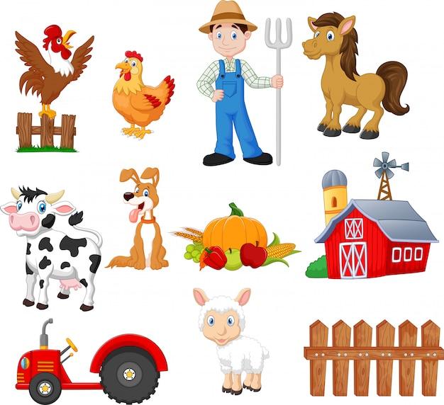 Conjunto de desenhos animados agrícolas com agricultor Vetor Premium