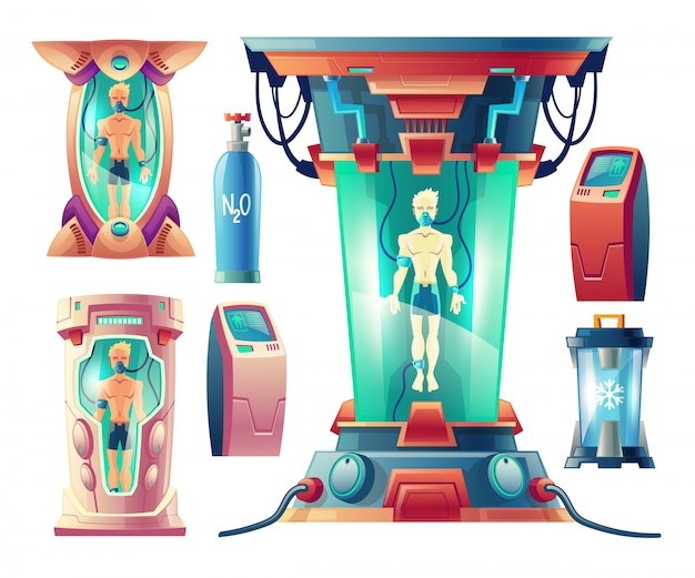 Conjunto de desenhos animados com equipamento futurista para hibernação, câmeras criogênicas com seres humanos a dormir Vetor grátis