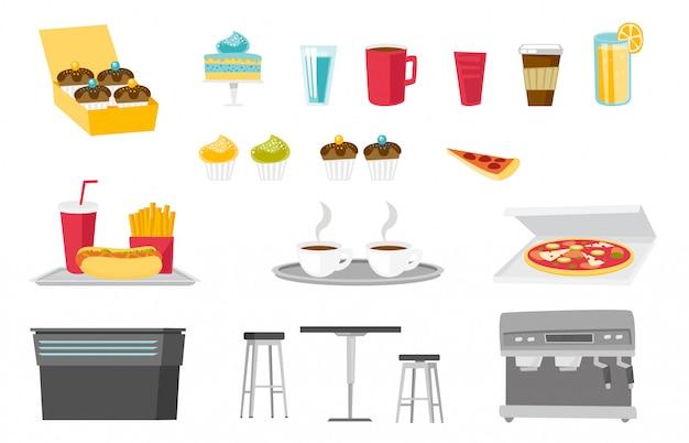 Conjunto de desenhos animados de alimentos e bebidas Vetor Premium