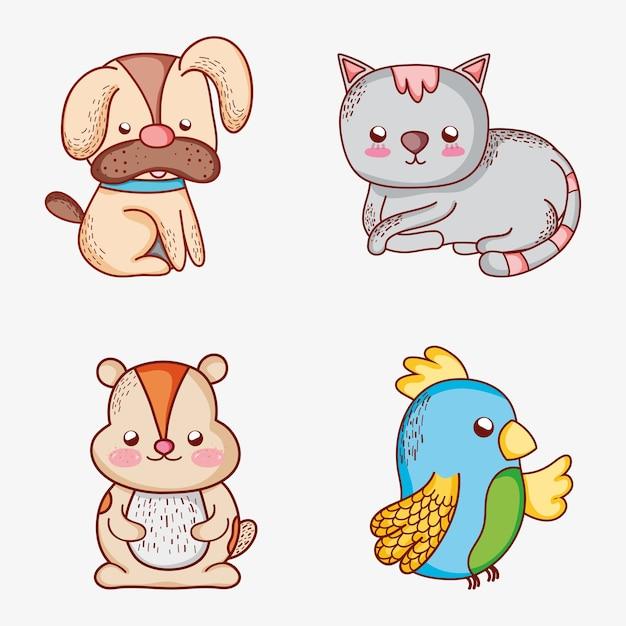 Conjunto De Desenhos Animados De Animais De Estimacao Vetor Premium