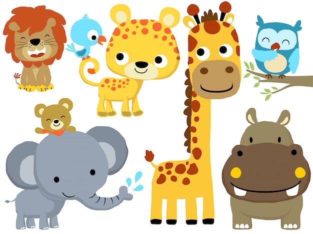 Conjunto de desenhos animados de animais engraçados Vetor Premium