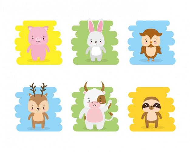 Conjunto de desenhos animados de animais fofos e estilo simples, ilustração Vetor grátis