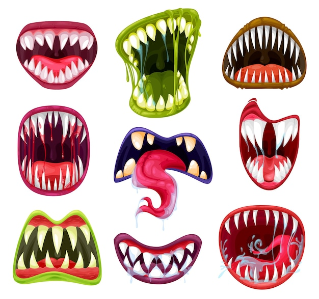 Conjunto de desenhos animados de bocas, dentes e línguas de monstro de halloween. diabo assustador e sorrisos de vampiro, rostos de terror malucos de feras alienígenas e zumbis furiosos com presas afiadas, saliva, lábios e gotas de sangue Vetor Premium