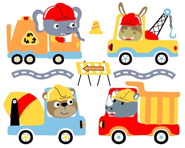 Conjunto de desenhos animados de caminhões com motoristas engraçados Vetor Premium