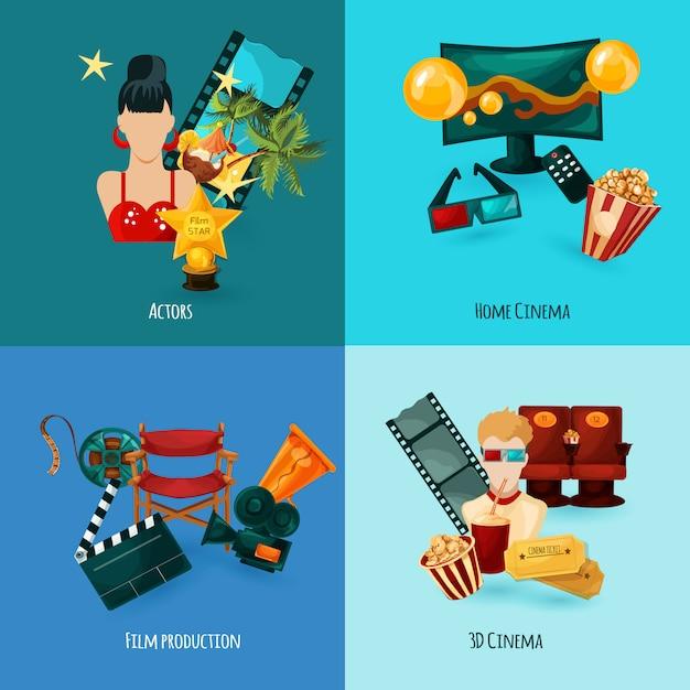 Conjunto de desenhos animados de cinema Vetor grátis
