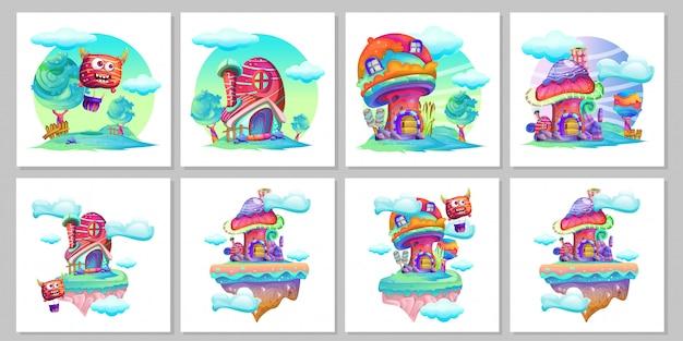 Conjunto de desenhos animados de cogumelo Vetor Premium