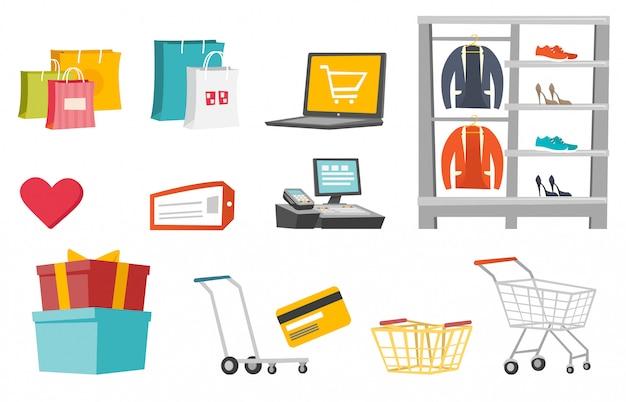 Conjunto de desenhos animados de compras Vetor Premium