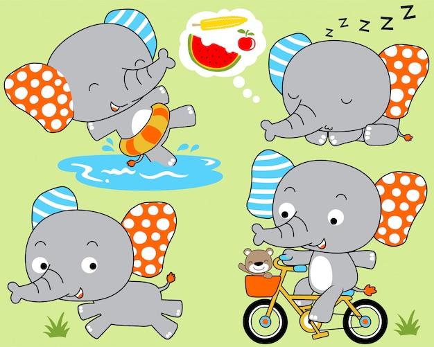 Conjunto de desenhos animados de elefante Vetor Premium