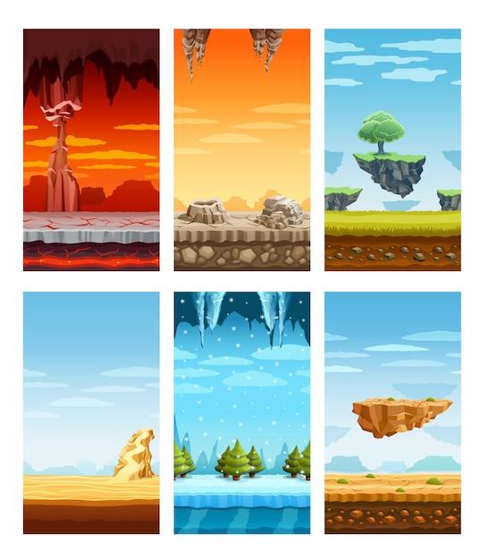 Conjunto de desenhos animados de elementos coloridos de jogos de computador Vetor grátis
