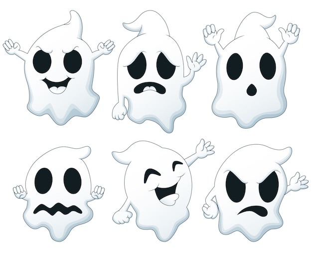 Conjunto De Desenhos Animados De Fantasma De Halloween Vetor Premium