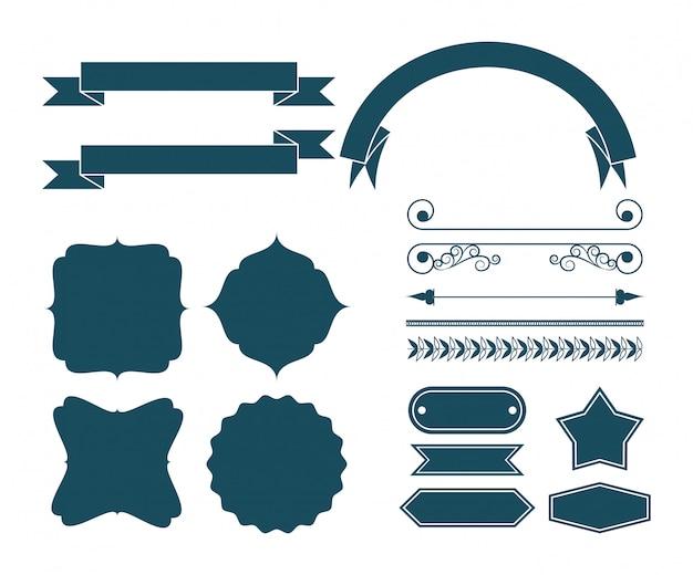Conjunto de desenhos animados de fita decorativa Vetor grátis