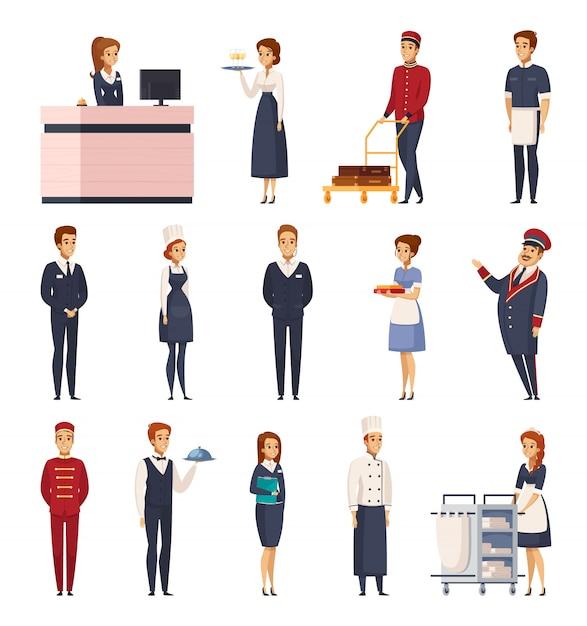 Conjunto de desenhos animados de funcionários do hotel Vetor grátis