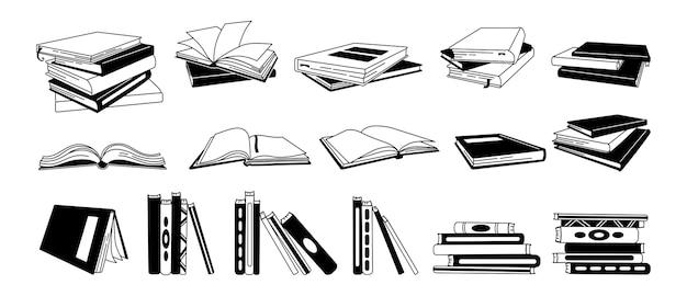 Conjunto de desenhos animados de glifo de livro. mão desenhada livros monocromáticos, livros de capa dura, páginas de estrutura de tópicos para biblioteca. ler, aprender e receber educação por meio do acervo de livros. no fundo branco Vetor Premium