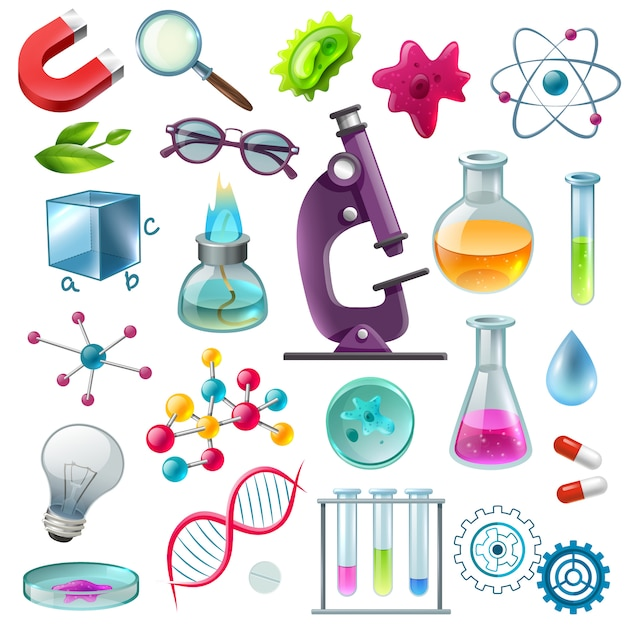 Conjunto de desenhos animados de ícones de ciência Vetor grátis