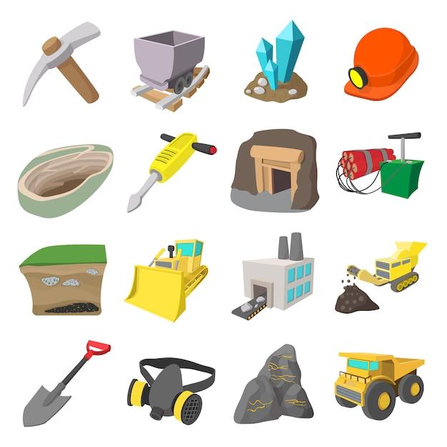 Conjunto de desenhos animados de ícones de mineração com bulldozer de caminhão de martelo de mineiro Vetor Premium