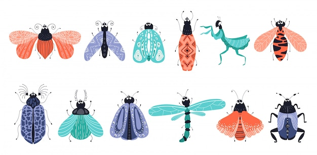 Conjunto de desenhos animados de insetos ou besouros, borboletas Vetor Premium