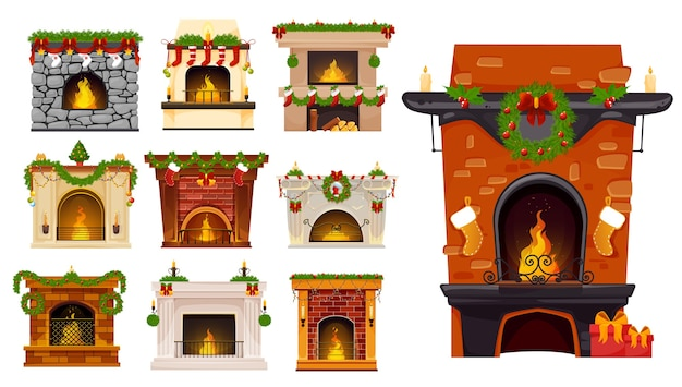 Conjunto de desenhos animados de lareira de natal de lareiras de férias de natal com grinaldas de árvore de natal, meias e presentes de meia de papai noel, guirlandas de bagas de azevinho, bolas e velas. interior do quarto de férias de inverno Vetor Premium