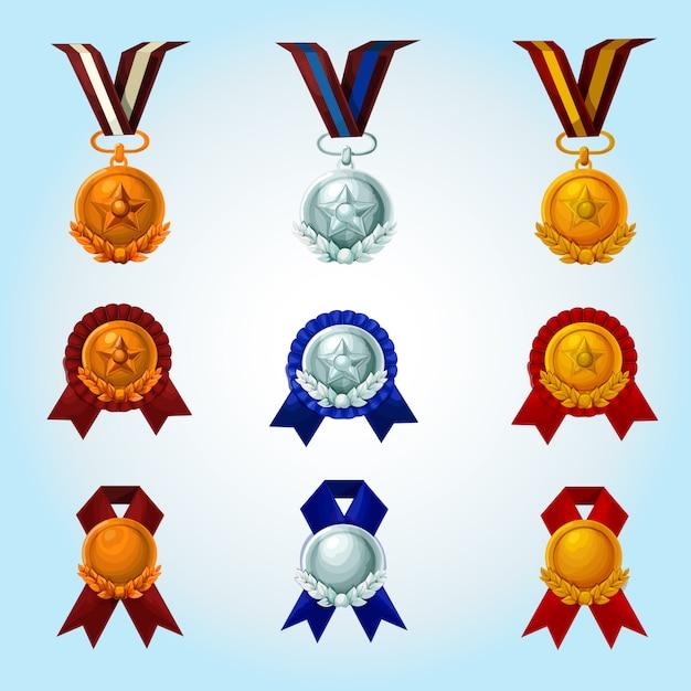 Conjunto de desenhos animados de medalhas Vetor grátis