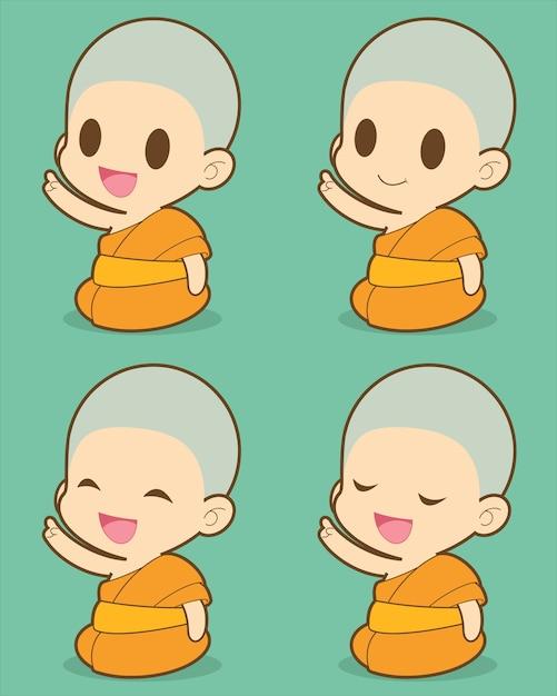 Conjunto De Desenhos Animados De Monge Vetor Premium