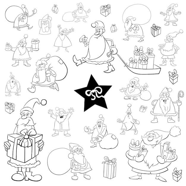 Conjunto De Desenhos Animados De Natal Preto E Branco Vetor Premium