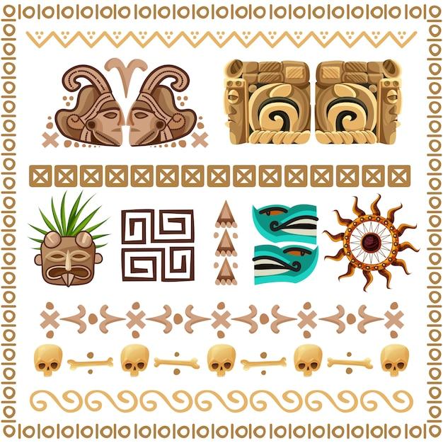 Conjunto de desenhos animados de padrões e ornamentos maias Vetor grátis