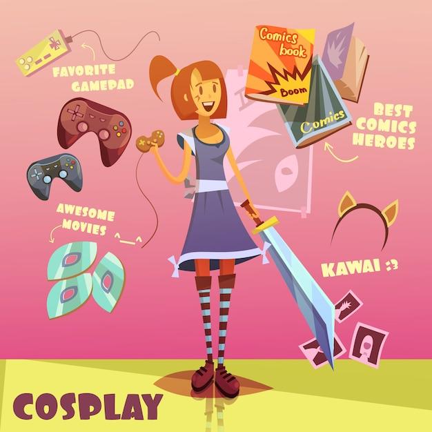 Conjunto de desenhos animados de personagem de cosplay Vetor grátis