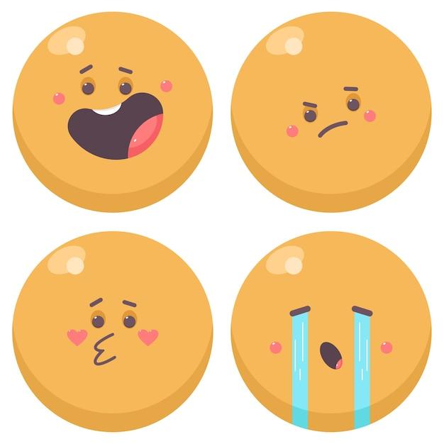 Conjunto de desenhos animados de personagens de emoções fofas isolado em um fundo branco. Vetor Premium
