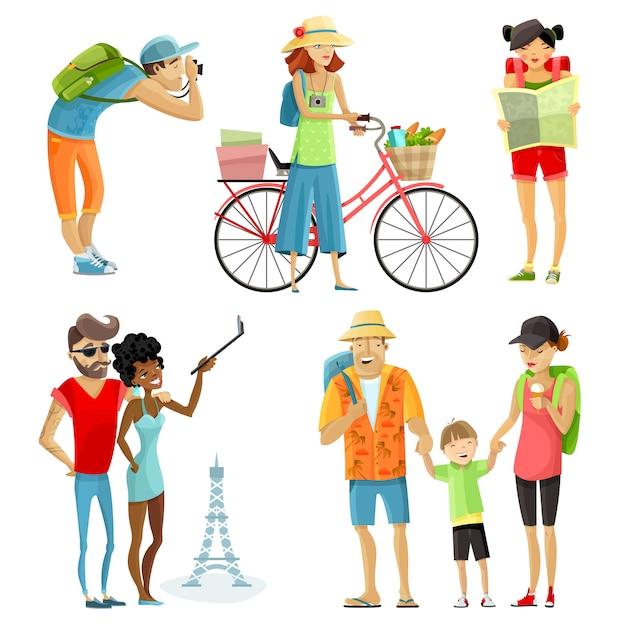 Conjunto de desenhos animados de pessoas viajando Vetor grátis