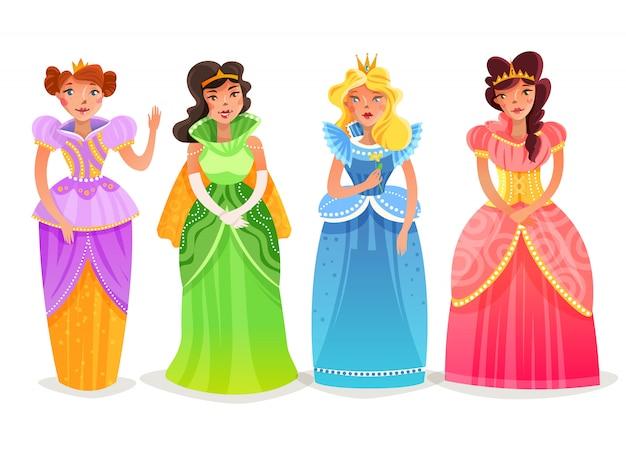 Conjunto de desenhos animados de princesas Vetor grátis