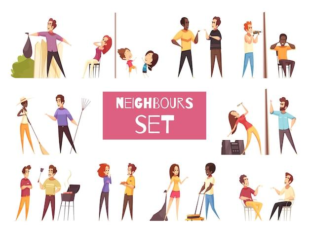 Conjunto de desenhos animados de vizinhos Vetor grátis