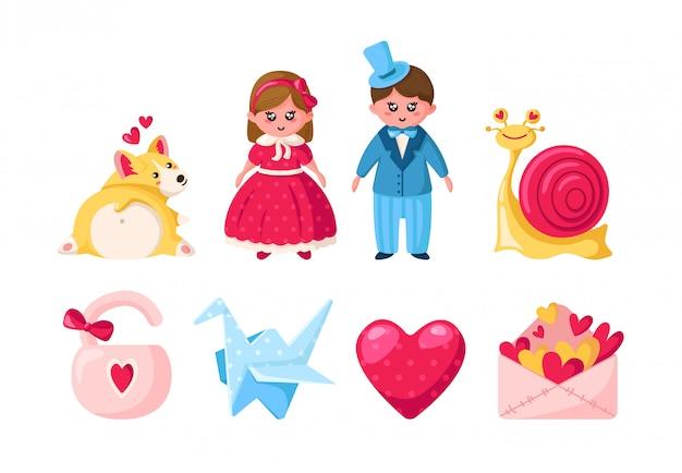 Conjunto de desenhos animados dia dos namorados - kawaii menina e menino, filhote de corgi, caracol rosa, envelope, guindaste de papel Vetor Premium