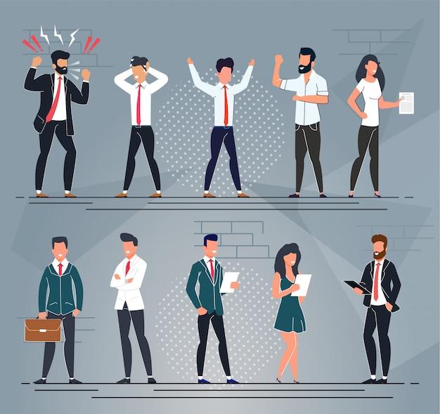 Conjunto de desenhos animados diferentes personagens de pessoas de escritório Vetor Premium