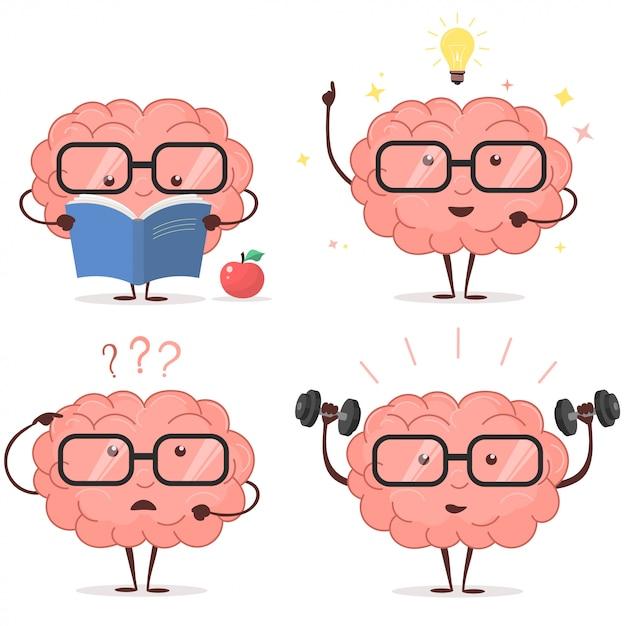 Conjunto de desenhos animados do cérebro Vetor Premium