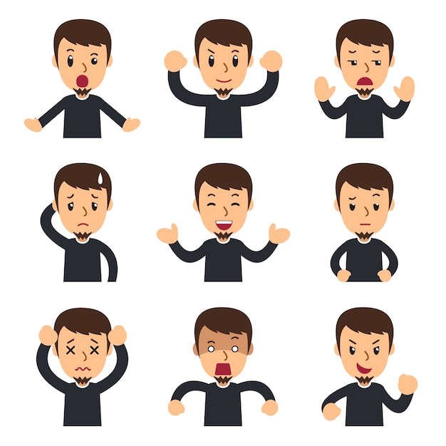 Conjunto de desenhos animados do homem mostrando diferentes emoções Vetor Premium