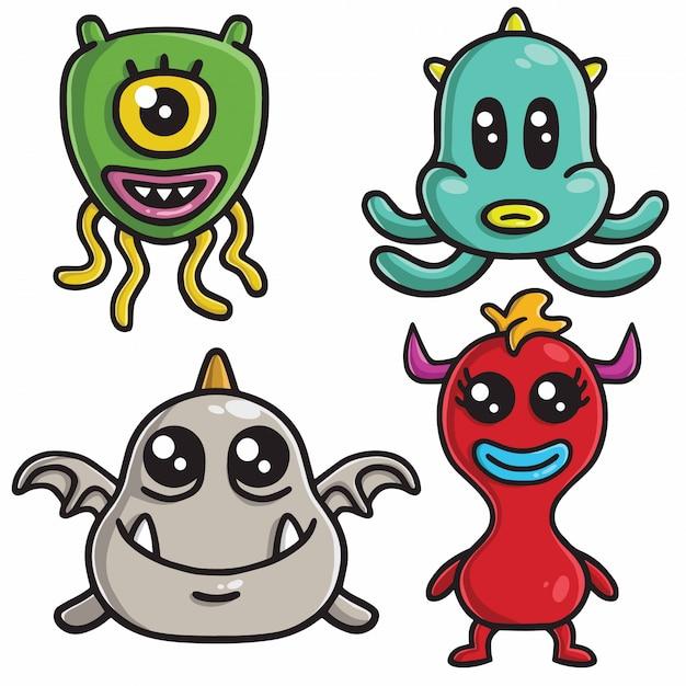 Conjunto de desenhos animados do monstro personagem design vector Vetor Premium
