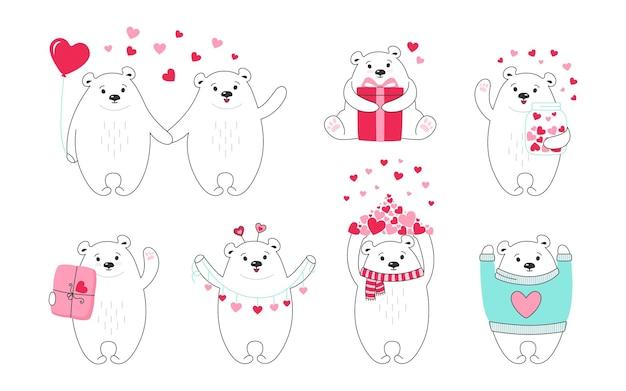 Conjunto de desenhos animados do urso polar. doodle desenhado à mão personagem animal engraçado com corações, balão, presente e pacote Vetor Premium