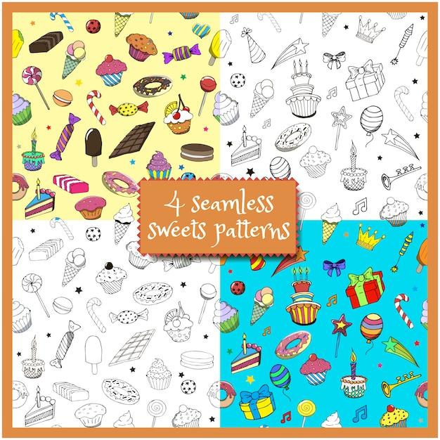 Conjunto de desenhos animados doodles festa de aniversário de mão desenhada e doces padrões sem emenda Vetor Premium