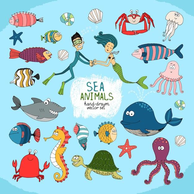 Conjunto de desenhos animados feitos à mão da vida marinha Vetor grátis