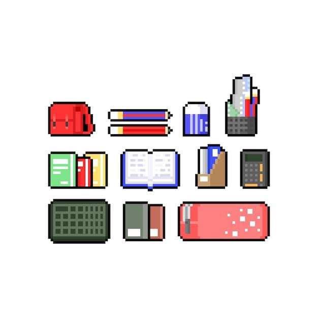 Conjunto de desenhos animados pixel art de conjunto de design de ícone de educação. Vetor Premium