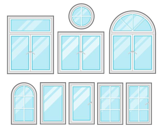 Conjunto de desenhos animados plana do windows isolado no fundo branco Vetor Premium