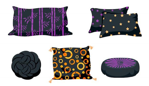 Conjunto de desenhos animados plana travesseiro preto. almofadas quadradas, nó com borlas, modelo de maquete de travesseiro pouffe. design de almofada escura Vetor Premium