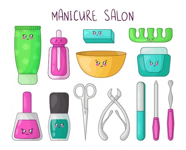 Conjunto de desenhos animados produtos de manicure kawaii Vetor Premium