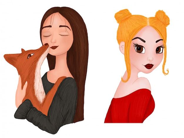 Conjunto de desenhos animados retratos de meninas na técnica de aquarela e lápis Vetor Premium