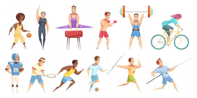 Conjunto de desenhos animados retrô esportista Vetor grátis