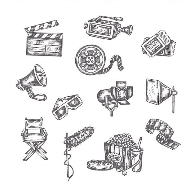 Conjunto de desenhos de cinema Vetor Premium