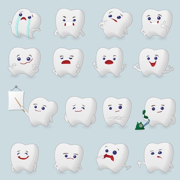 Conjunto de desenhos de dentes. ilustrações para odontologia infantil sobre dor de dente e tratamento. Vetor Premium