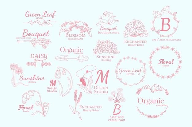 Conjunto de desenhos de logotipo floral Vetor grátis