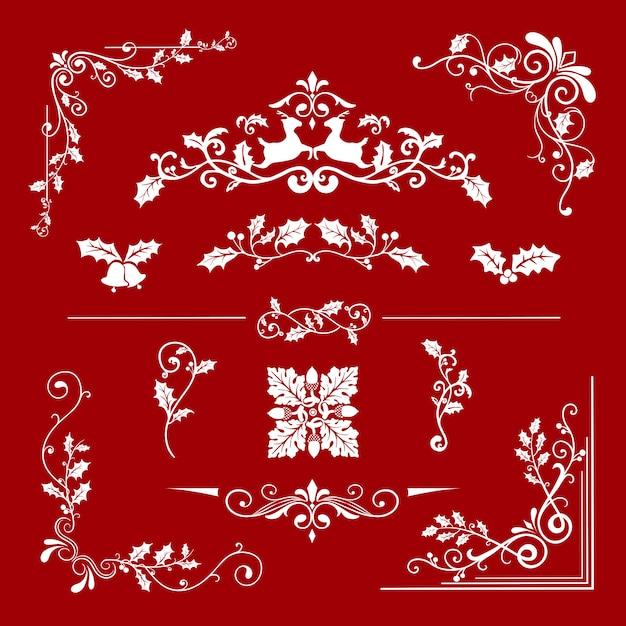 Conjunto de desenhos decorativos de natal para vetor de cartões Vetor grátis