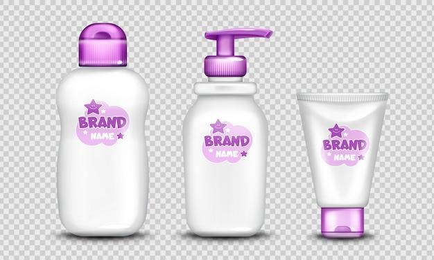 Conjunto de design bonito de pacote de cosméticos de bebê realista Vetor grátis